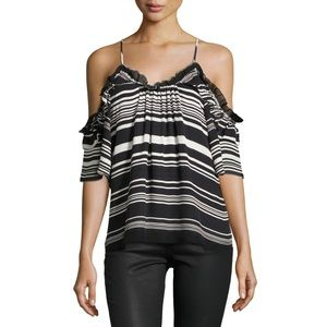 Parker Gabe Striped Cold Shoulder Top